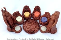 Beautiful New Elemental Altar Sets now in stock!!! Each Set comes with 1 Horned God Statue, 1 Moon Goddess Statue, One Tree of Life Altar Tile, 1 Earth Elemental Votive Holder, 1 Air Elemental Votive Holder, 1 Fire Elemental Votive Holder, 1 Water Elemental Votive Holder. These sets will surely become a treasured addition to any altar! Get yours today, click the picture to be taken to our site! (Candles not included)