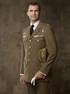 In this handout photo from the Spanish Royal Household, Prince Felipe of Spain poses dressed in Lieutenant Colonel uniform during an official portrait session at Zarzuela Palace on May 5, 2010 in Madrid, Spain.