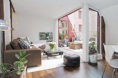 sofa cuero marron en el salon - Buscar con Google