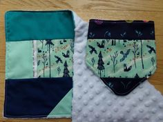 Japanese Forest Patchwork Bandana Baby Bib and Burp Cloth Set by laruedefleurs on Etsy