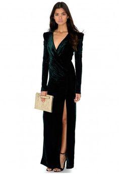 Glama Long Sleeve Velvet Tailored Split Maxi Dress - Dresses - Missguided $68.17