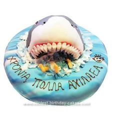 Homemade Shark Birthday Cake: When I had my son's 5th birthday I asked him what kind of cake he wanted. He said to me Mam I want a shark eating a man. I said to him but son this kind