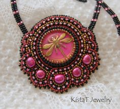 Bead embroiderend pendant necklace pink and black by KistaTJewelry,