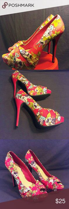 Charming Charlie Red Floral Heels Only tried once to high for me  Box not included From a smoke pet free home Floral pattern Charming Charlie Shoes Heels