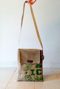 Intercontinental burlap messenger bag  made in by LinaandVi