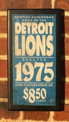 Detroit Lions Vintage Style Wall Plaque