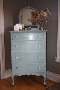 Duck Egg Blue slightly distressed with gold gilding