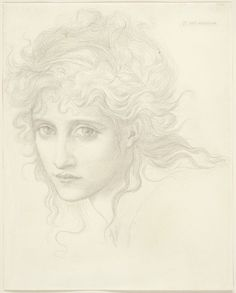 "Edward Burne-Jones / Head of a Young Woman (Study for ""The Hesperides""?) / October 1870 / Graphite on cream wove paper"