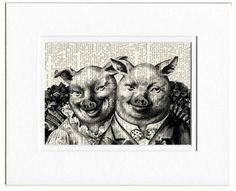 Mr and Mrs pigly print by FauxKiss on Etsy