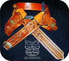 "A ""traditional"" rig with Northwestern carving. www.slickbald.com #holster #SASS #leather #slickbald"