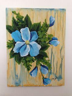 Flor azul com folhagem - Tela em MDF, 30x40 cm, pintura com tinta PVA/acrílica.