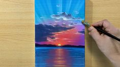 Canvas Painting Tutorials, Acrylic Painting Tutorials, Acrylic Art, Diy Painting, Mini Paintings, Landscape Paintings, Sunrise Painting, Step By Step Painting, Les Oeuvres