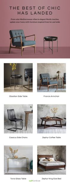 The Best of Chic has landed. From calm Mediterranean vibes to elegant Nordic touches, update your home with furniture inspired from far and wide Bedroom Accessories, Reception Rooms, Vintage Home Decor, Side Chairs, Room Inspiration, Home Goods, Furniture Design, Mini Office, New Homes