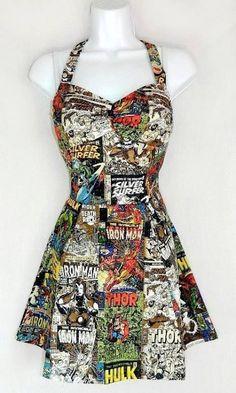 Marvel Avengers and the Fantastic Four comic dress on Etsy Fashion 90s, Marvel Fashion, Fandom Fashion, Fashion Mode, Fashion Outfits, Womens Fashion, Grunge Outfits, Dress Fashion, Pin Up Mode