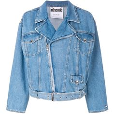 Moschino biker style jacket (68.315 RUB) ❤ liked on Polyvore featuring outerwear, jackets, blue, motorcycle jackets, blue leather jackets, blue motorcycle jackets, blue jackets and blue moto jackets
