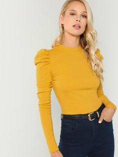 SHEIN offers Puff Sleeve Rib Knit Tee & more to fit your fashionable needs. Fashion News, Fashion Outfits, Stylish Outfits, Fashion Women, Types Of Sleeves, Rib Knit, Tees, Long Sleeve, Clothes