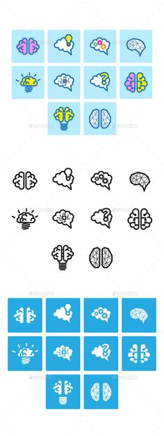 Brain Icon Set by AngBay Collection of brain icon vector. The file contain 3 variety of style. Editable. All file saved in vector EPS10 that can be opened
