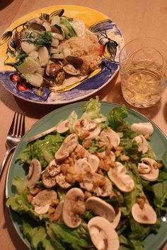 dinner on Tue. green salad with red leaf lettuce, cucumber, mushroom clam & radish braised by cream with unmilled rice, Chardonnay, caciocavallo from Chiba and Hokkaido Red Leaves, Chiba, Clams, Lettuce, Cucumber, Stuffed Mushrooms, Rice, Salad, Dinner