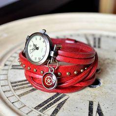 pupodesign / ČERVENÉ ELEGANTNÍ HODINKY, omotávací hodinky