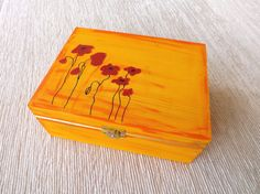 Wooden big box with Poppies hand-painted personalized chest