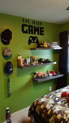 Best Video Game Room Ideas [A Gamer's Guide] Tags: Gaming room setup ideas, vi. Best Video Game Room Ideas [A Gamer's Guide] Tags: Gaming room setup ideas, video game room ide Gamer Bedroom, Boys Bedroom Decor, Bedroom Green, Design Bedroom, Decor Room, Bedroom Bed, Teen Boys Room Decor, Budget Bedroom, Bedroom Furniture