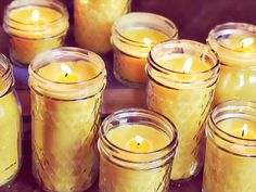 diy Candles beeswax - Homemade Beeswax Candles - A Beautiful Mess Homemade Candles, Diy Candles, Candle Wax, Scented Candles, Making Candles, Candle Decorations, Paraffin Candles, Decorative Candles, Cheap Candles