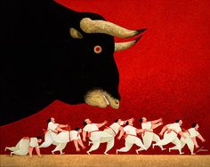 """Pamplona Iruna II"", Lowell Herrero,  Acrylic on canvas, 48 x 60"" • 2007 California College Of Arts, Cow Art, Naive Art, Fantastic Art, Whimsical Art, Impressionism, Pamplona, Basque, Animal Welfare"