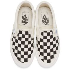 Vans Black and White Checkerboard OG Classic LX Slip-On Sneakers ($60) ❤ liked on Polyvore featuring shoes, sneakers, pull-on sneakers, leopard print slip-on sneakers, black and white slip on sneakers, black and white sneakers and slip on trainers