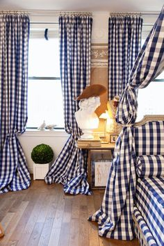 Charming Blue And White Gingham Check Draperies And Bedding In This  European Bedroom.