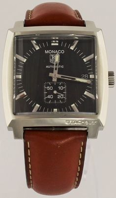 GENUINE TAG HEUER MONACO WW2110.FT6172 AUTOMATIC BROWN LEATHER MENS LUXURY WATCH #TAGHeuer #LuxuryDressStyles