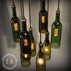 Repurposed Wine Bottle Pendant Chandelier Wood Frame Hanging Lamp By Etsy shop Industrial Artifact
