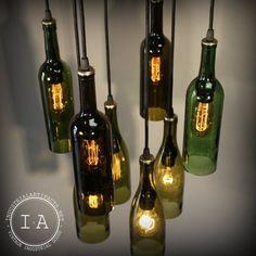 Repurposed Wine Bottle Pendant Chandelier Wood Frame Hanging Lamp By Etsy shop Industrial Artifact