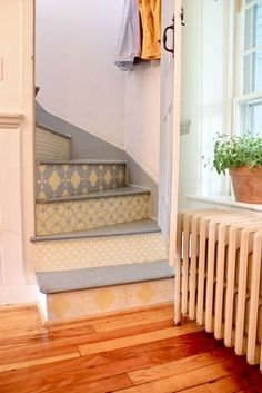 Another example of wallpaper stairs Stenciled Stairs, Painted Stairs, Painted Floors, Wallpaper Stairs, Painting Wallpaper, Halls, Apartment Therapy, My Dream Home, Home Projects