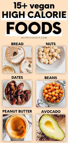 Want to gain some weight and bulk up on a plant-based diet? This list of 15 high-calorie vegan foods shows how your everyday choices can make a difference. From crunchy nuts and protein-packed beans to creamy sauces, fruits & more! Including easy & delicious high-calorie vegan recipes. Vegan Nutrition, Nutrition Tips, Healthy Eating Tips, Healthy Habits, Vegan Recipes Easy, Whole Food Recipes, High Calorie Meals, How To Eat Better