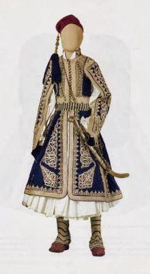 Man's Traditional Greek costume c 1821 Greek Traditional Dress, Traditional Fashion, Traditional Outfits, Folk Clothing, Greek Clothing, Historical Clothing, Culture Clothing, Greek Culture, Blue And White Dress
