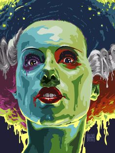 Bride of Frankenstein Horror Drawing, Horror Art, Horror Movies, The Munsters, Beetlejuice, Maila, Frankenstein's Monster, Bride Of Frankenstein, Classic Monsters