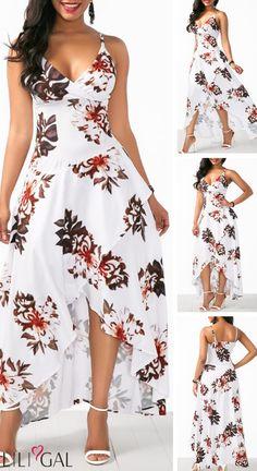 Asymmetric Hem Overlap Flower Print White Dress - Asymmetric Hem Overlap Flower Print White Dress HOT SALES beautiful dresses, pretty dresses, h - Elegant Dresses, Pretty Dresses, Sexy Dresses, Vintage Dresses, Beautiful Dresses, Dress Outfits, Casual Dresses, Dresses For Work, Fashion Outfits