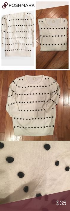 🆕 J Crew Factory Charley sweater in Pom Pom dot Unlike retail version this one only has the Pom poms on the front. 3/4 sleeve. Nylon/viscose/merino wool. Hits at hip. Pom poms collect some fuzz and minor pilling on the sweater. 17 inches armpit to armpit, 23 inches shoulder to hem. J. Crew Sweaters Crew & Scoop Necks