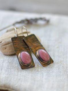 Copper earrings  sterling silver rhodonite  artisan by alery