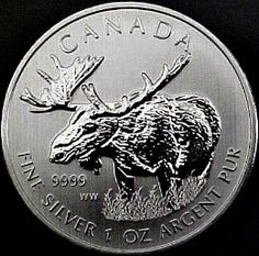 2012 - 1 oz. Canadian Silver Moose Bullion Coin - reverse side