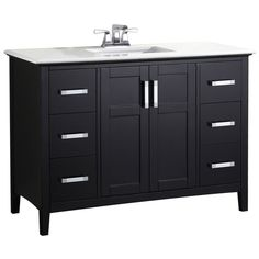 Winston 48-inch W Vanity in Black Finish with Quartz Marble Top