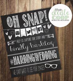 Hashtag Print- Wedding Instagram Facebook Twitter- Oh Snap Chalkboard Printable Art