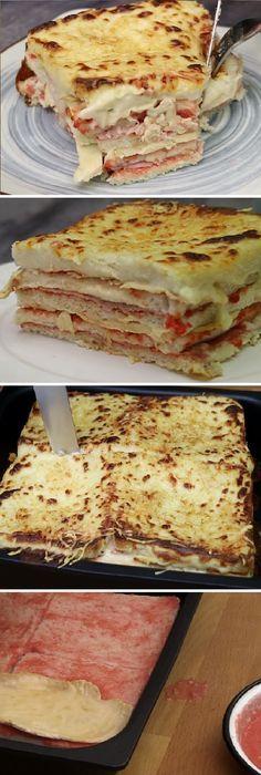 """Ay no puede ser!!!!! Tiene una pinta tremenda!!!! este PASTEL DE POLLO Y JAMÓN """"Con pan de molde"""" #pollo #jamon #pandemolde #pan #panfrances #pantone #panes #pantone #pan #receta #recipe #casero #torta #tartas #pastel #nestlecocina #bizcocho #bizcochuelo #tasty #cocina #chocolate #tomate #tomatoes Echamos 40 g de mantequilla, dejamos que se derrita totalmente y agregamos 40 g de harina de trigo. Mezclamos con a... Crockpot Recipes, Chicken Recipes, Cooking Recipes, Chicken Ham, Bien Tasty, Best Sandwich Recipes, Great Recipes, Favorite Recipes, Puerto Rico Food"""