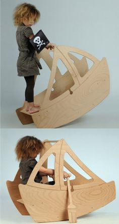 5 Amazing Toy Schaukelstühle – Mommo-Design: 5 Amazing Rocking Toys - Wood Working Two Deco Pirate, Pirate Boy, Woodworking Toys, Woodworking Ideas, Japanese Woodworking, Popular Woodworking, Kids Wood, Wooden Toys For Kids, Wood Toys