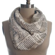 Alice in Wonderland Book Scarf. Also, the Persuasion and Sherlock Holmes scarves are cool. But first, Alice :-)