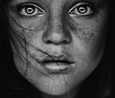 Face Freckles Eyes Portrait Black And White