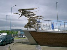 The Flying Angel.Sculpture by Maurice Harron at The Mission to Seafarers at Princes Dock Street, Belfast, Northern Ireland. Personally i think there's a bit of the banshee about it!