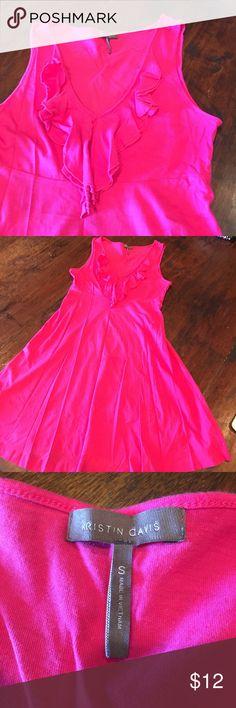 Hot pink sleeveless cotton sundress w/ ruffle Hot pink sundress for summer with a-line waist and ruffle v-neck neckline. Size small. Kristin Davis Dresses