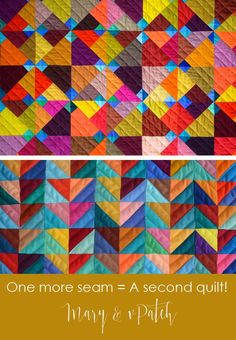 Maryandpatch, Blue Ducks Quilt pattern, one more seam, a second quilt! Quilting Tutorials, Quilting Projects, Quilting Designs, Quilt Design, Quilting Tips, Bargello Quilts, Scrappy Quilts, Half Square Triangle Quilts, Colorful Quilts