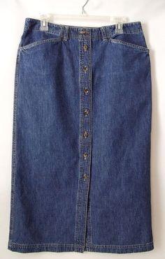 Jones Sport Blue Denim Jean Skirt Size 14 Long Button Down Women's  #JonesSport #ALine